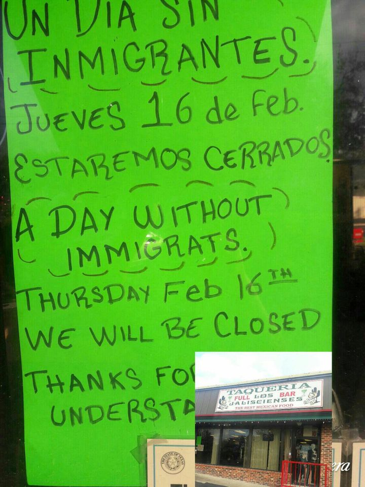 A sign announces that Taquerias Los Jaliscienses in Austin, Texas, will be closed on Feb. 16.