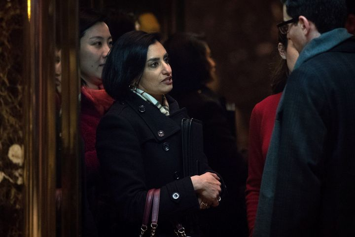 Seema Verma, president and founder of SVC Inc., gets into an elevator as she arrives at Trump Tower in New York to meet with