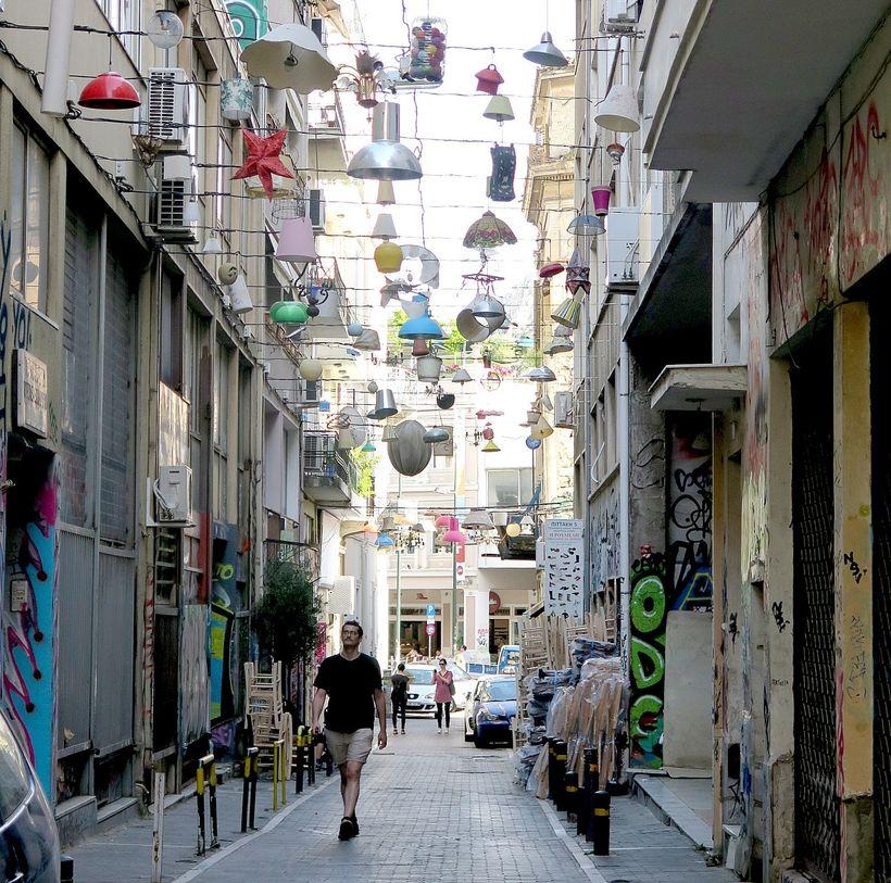 Athens 'weird': Pittaki Street, where lights have been strung as art.
