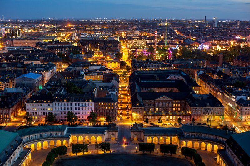 Nighttime cityscape of Copenhagen, Denmark, winner of numerous awards for livability, health, environmental achievement, and