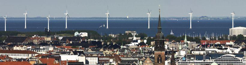 Offshore wind turbines near the Copenhagen shoreline.