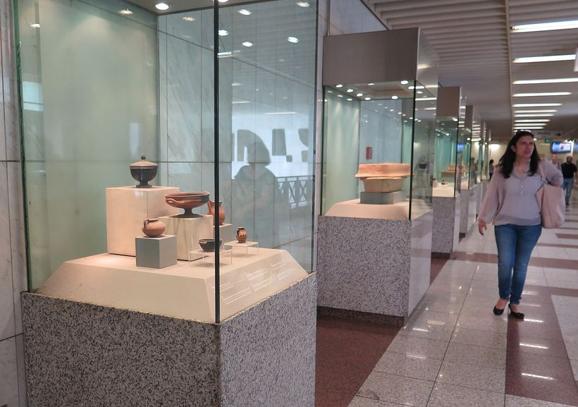 Athens metro stations often have exhibits of artifacts uncovered there.