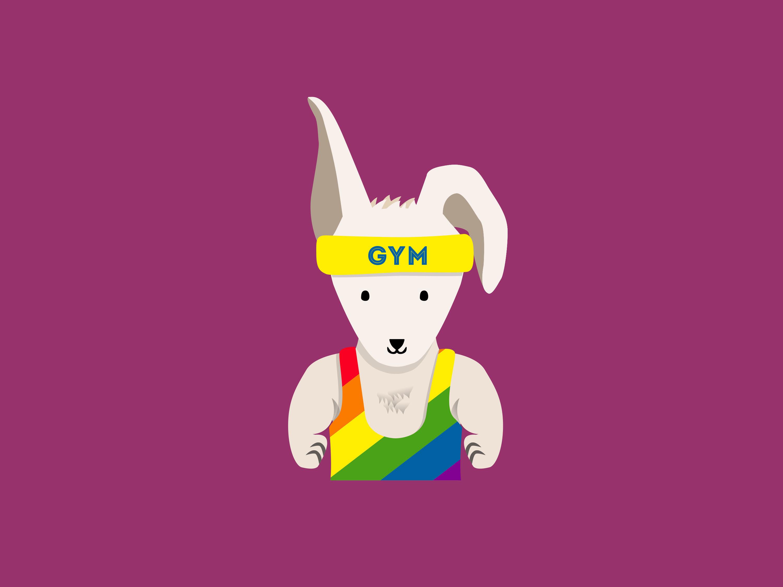 "A rainbow-clad ""gym bunny"" is part of the new ""Homoji"" keyboard."