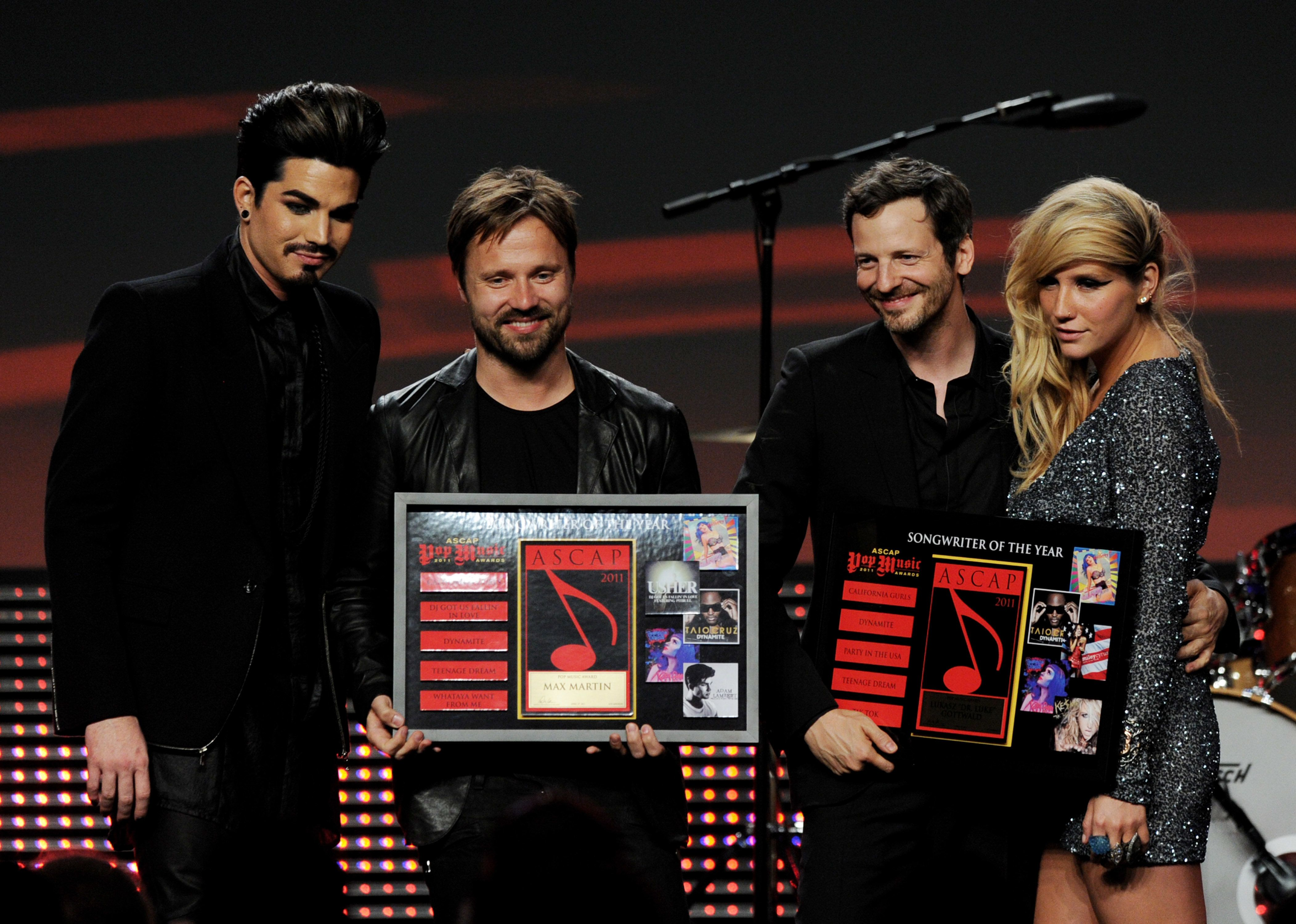 LOS ANGELES, CA - APRIL 27:  (L-R) Singer Adam Lambert, Songwriters of the Year Max Martin and Lukasz 'Dr. Luke Gottwald and singer Ke$ha pose onstage at the 28th Annual ASCAP Pop Music Awards at the Kodak Ballroom on April 27, 2011 in Los Angeles, California.  (Photo by Kevin Winter/Getty Images)