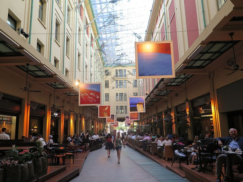 A new, fashionable shopping street.