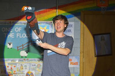 Jason (Michael Doherty) and his puppet, Tyrone, in a scene from<strong><em>Hand to God</em></strong>