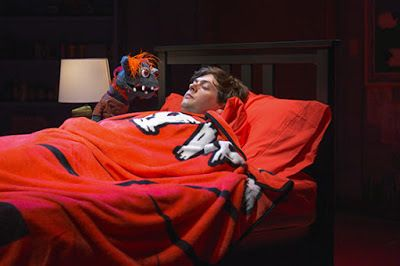 Tyrone watches of Jason (Michael Doherty) as he sleeps in a scene from <strong><em>Hand to God</em></strong>