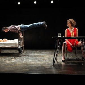 Eddie (Andrew Pastides) demonstrates one of his rodeo tricks to impress May (Jessi Campbell) in a scene from<strong><em>Fool