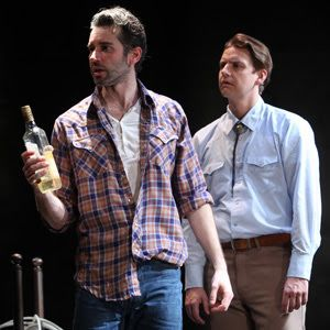 Eddie (Andrew Pastides) confuses and frightens Martin (Patrick Russell) in a scene from<strong><em>Fool For Love</em></stron