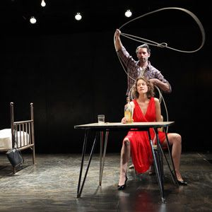 Eddie (Andrew Pastides) prepares to lasso May (Jessi Campbell) in a scene from<strong><em>Fool For Love</em></strong>