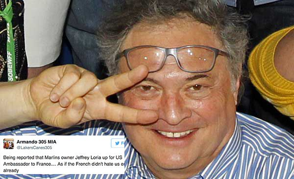 Marlins fans destroy Jeffrey Loria on Twitter for taking a Trump regime job in France after selling the team to his in-laws.