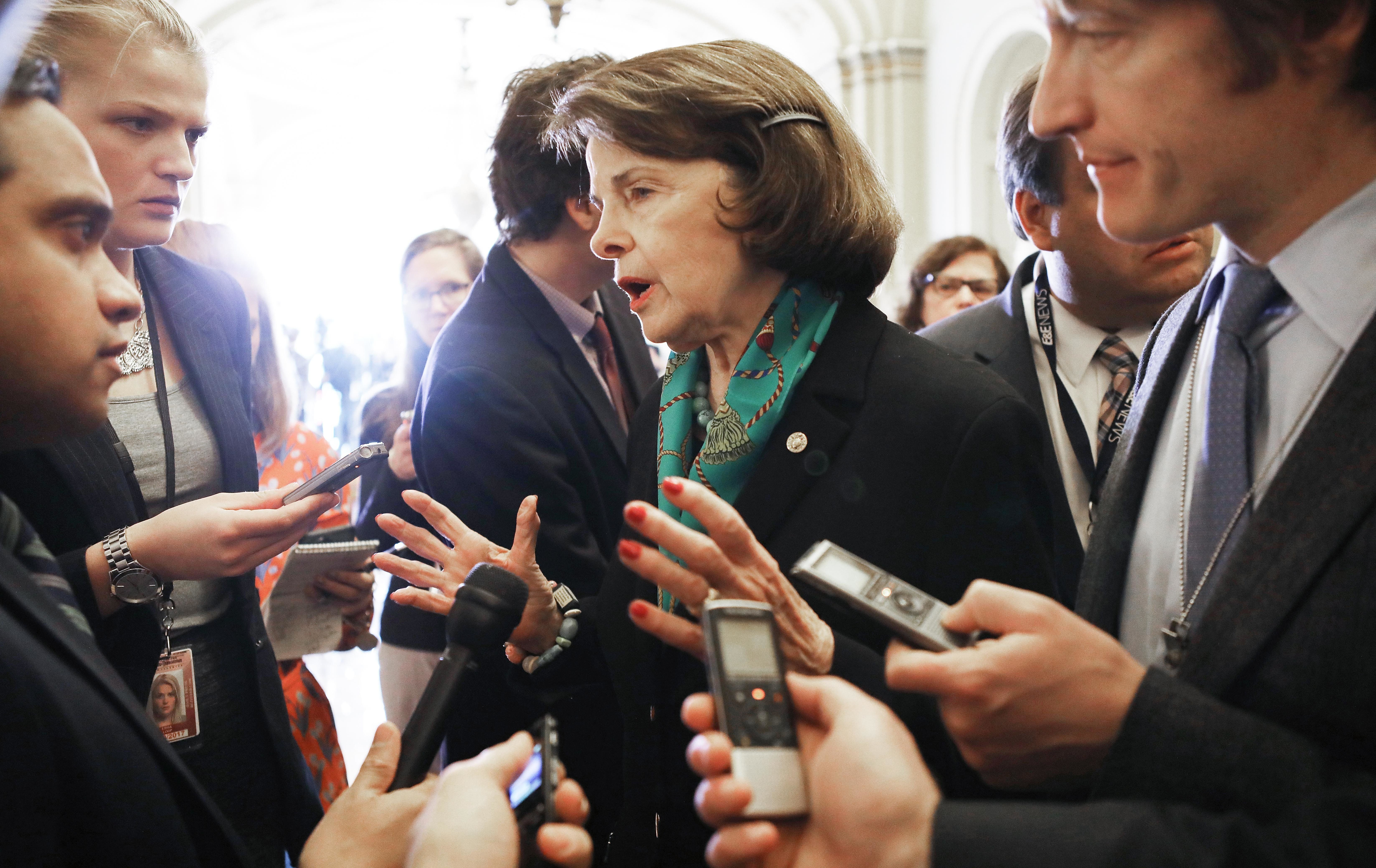 Sen. Dianne Feinstein spoke to Capitol Hill reporters on Wednesday following a Democratic caucus meeting.