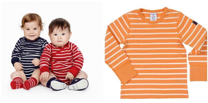 Left: Striped bodysuit, £14. Right: Striped top, £18.