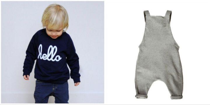 Left: Sweatshirt, £24. Right: Dungarees, £36.