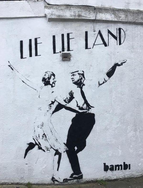 """Street artist Bambi <a href=""""https://www.huffpost.com/entry/donald-trump-street-art-bambi-parody_n_58a571a8e4b045cd34beb652?d"""