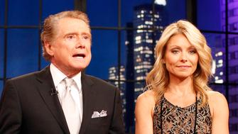 "Television host Regis Philbin says goodbye with co-host Kelly Ripa (R) during his final show of on  ""Live With Regis and Kelly"" in New York, November 18, 2011.  After nearly three decades hosting the show that became ""Live With Regis and Kelly,"" Regis Philbin stepped down Friday with a few well wishes to his colleagues and fans.  REUTERS/Brendan McDermid (UNITED STATES - Tags: ENTERTAINMENT PROFILE)"
