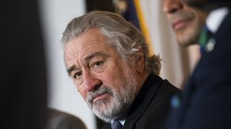WASHINGTON, UNITED STATES - FEBRUARY 15: Actor Robert De Niro (C) attends an event with the World Mercury Project at the National Press Club in Washington, USA on February 15, 2017. (Photo by Samuel Corum/Anadolu Agency/Getty Images)