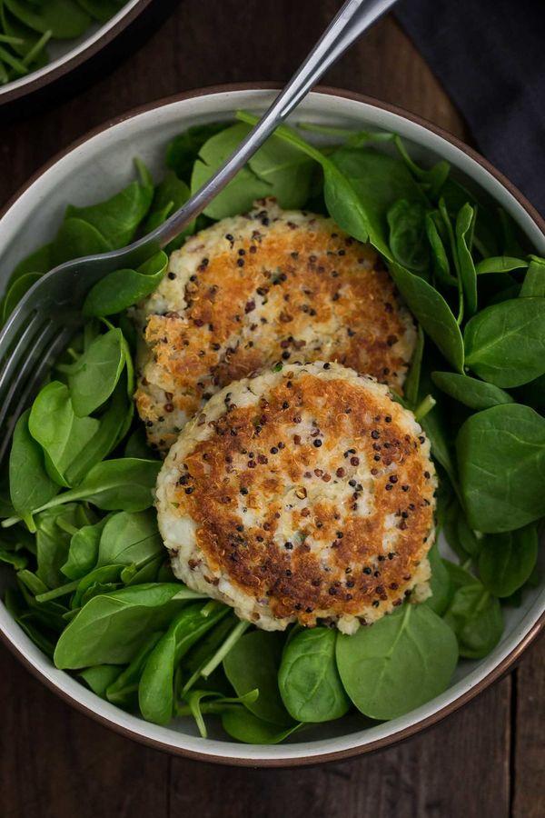 """<strong>Get the <a href=""""https://naturallyella.com/quinoa-potato-cakes/"""" target=""""_blank"""">Quinoa Potato Cakes recipe</a>"""