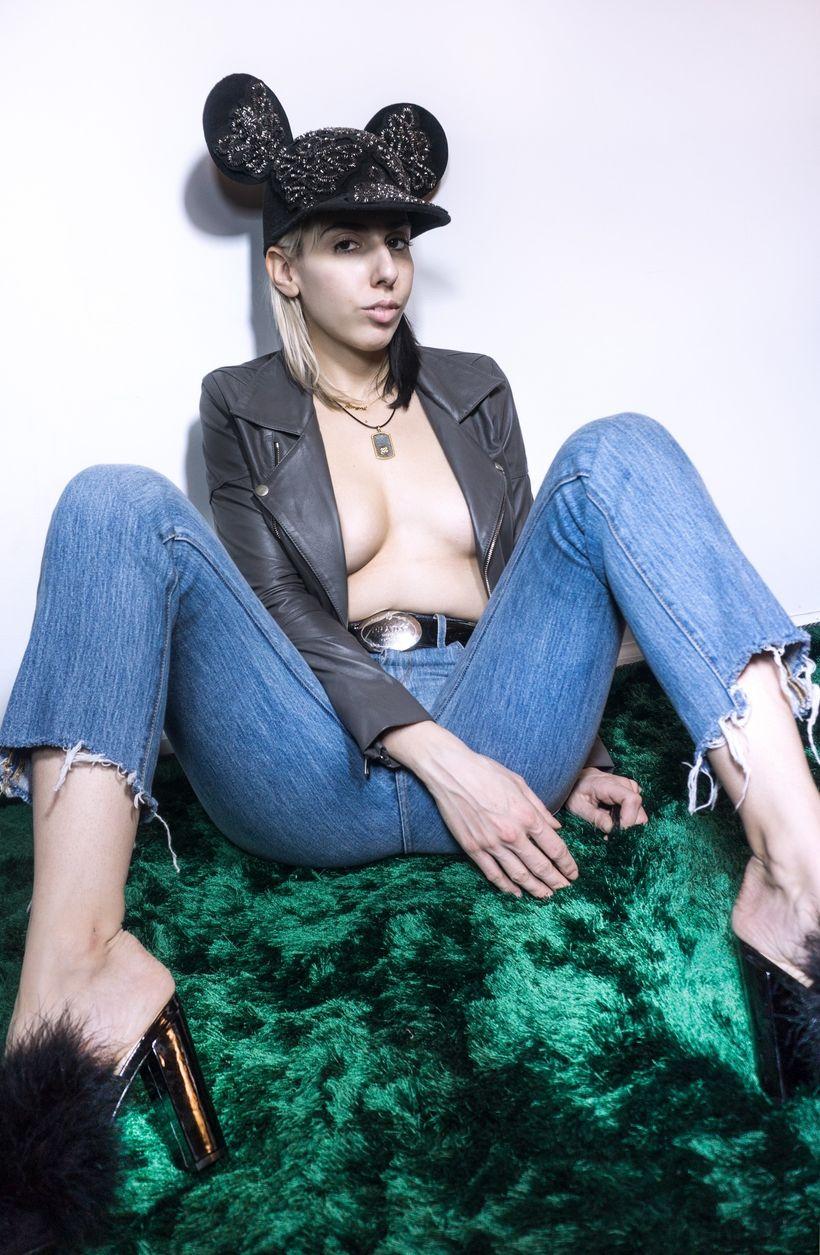 Hat by Pabllo De La Cruz. Leather jacket by SKINGRAFT