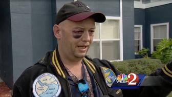 Garry Blough said he was attacked by three people after intervening in animal abuse