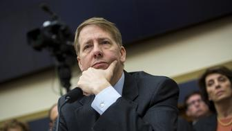 Richard Cordray, director of the Consumer Financial Protection Bureau (CFPB), testifies during a House Financial Services Committee hearing in Washington, D.C., U.S., on Tuesday, Dec. 8, 2015. The Financial Stability Oversight Council's effort to enhance its transparency is 'important,' Securities and Exchange (SEC) Commissioner Mary Jo White said at the hearing. Photographer: Drew Angerer/Bloomberg via Getty Images
