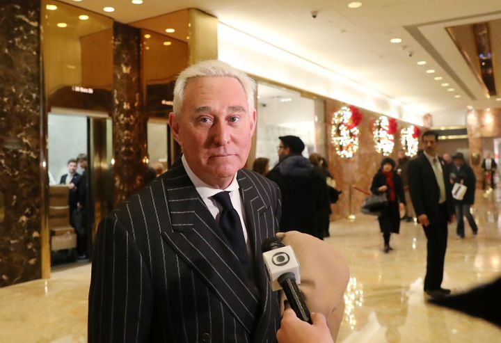 Roger Stone speaks to the media at Trump Tower in New York City on Dec. 6, 2016.