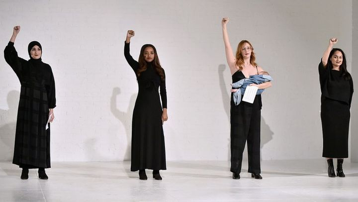 <p>Co-founders of the Women's March open Mara Hoffman's NYFW show</p>