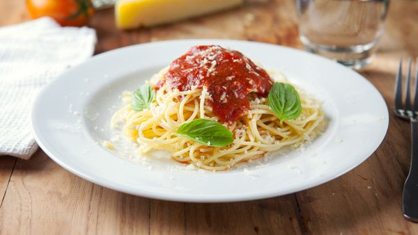 """Pasta topped with <a href=""""https://ndb.nal.usda.gov/ndb/foods/show/19434?manu=&amp;fgcd=&amp;ds="""" target=""""_blank"""">1/2 cup of"""