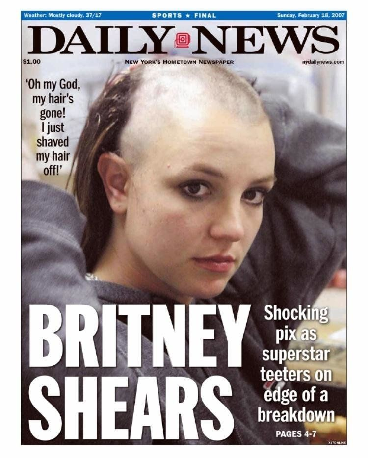 Britney cut hair new shaved spear