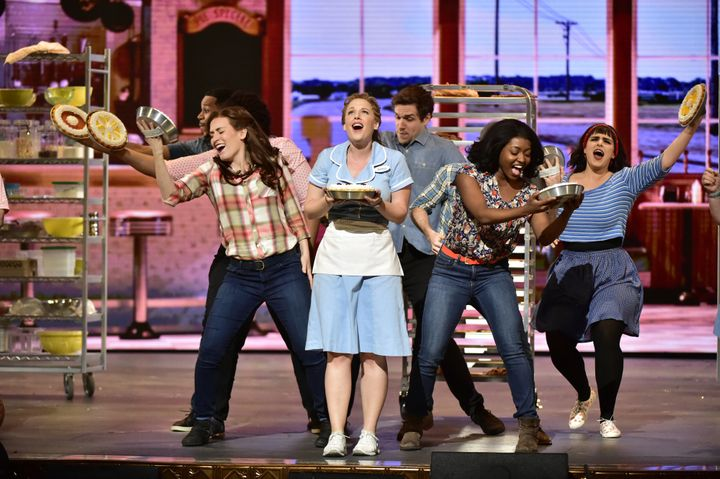 "Jessie Mueller and the cast of ""Waitress."""