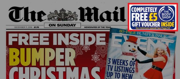 The Body Shop ran an offer on the front page of the Mail on Sunday ran as recently as December 11
