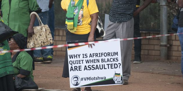 <em>ANC supporters protest outside the Middelburg Magistrates Court during the appearance of Theo Jackson and Willem Oosthuiz