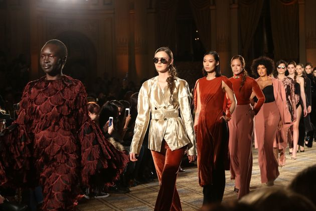 Models at theChristian Siriano fall 2017 NYFW sho on 11 Feb