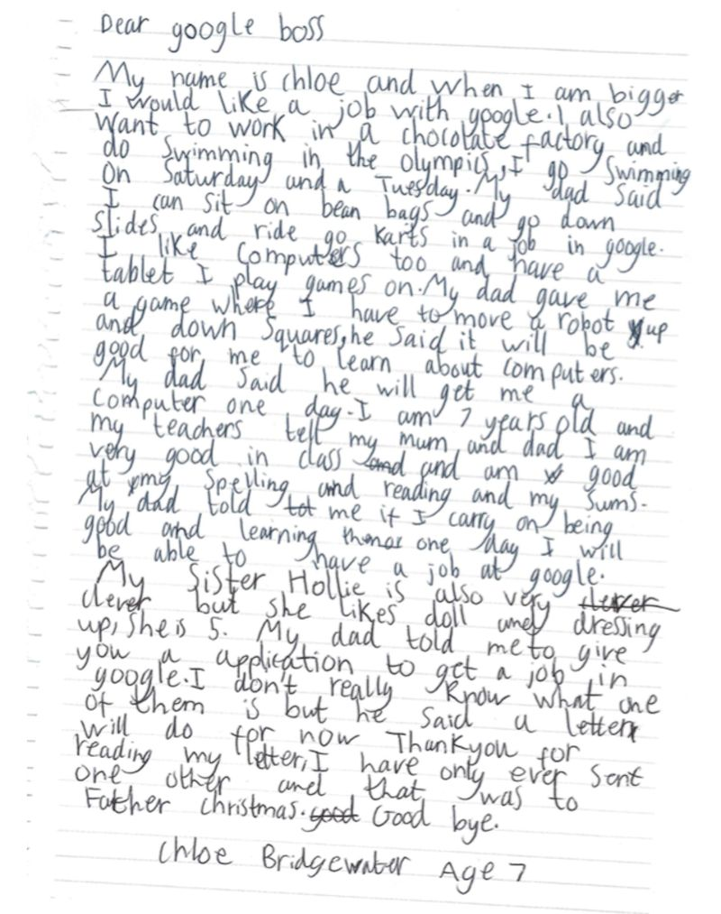 A 7-year-old named Chloe sent a letter to Google asking for a job in the future.