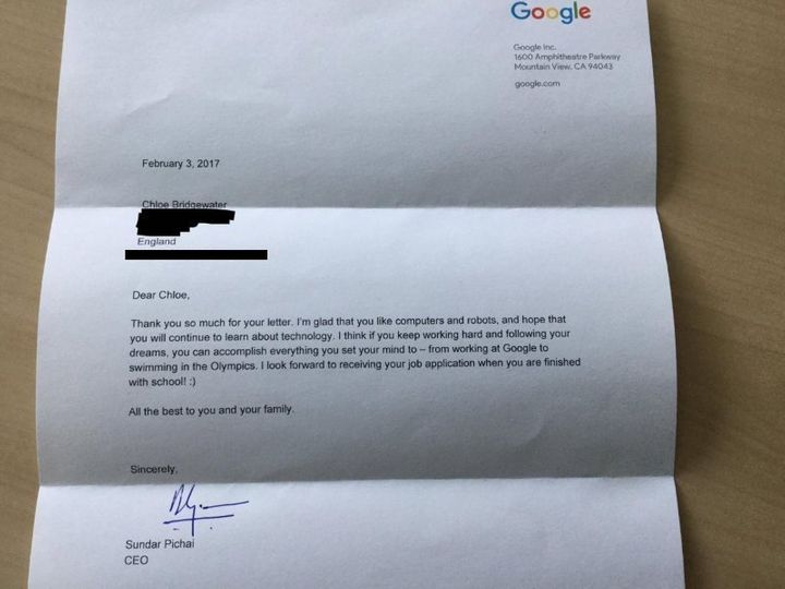 "Google CEO Sundar Pichai wrote back to tell her she ""can accomplish everything"" if she commits to it."