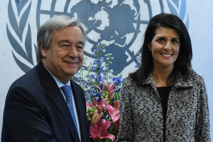 Newly appointed US Ambassador to the United Nations Nikki Haley presents her credentials to Antonio Guterres at UN in New Yor