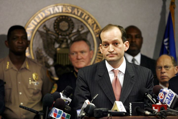 U.S. Attorney R. Alexander Acosta speaks to the media during a news conference on June 23, 2006, about the arrest of seven pe