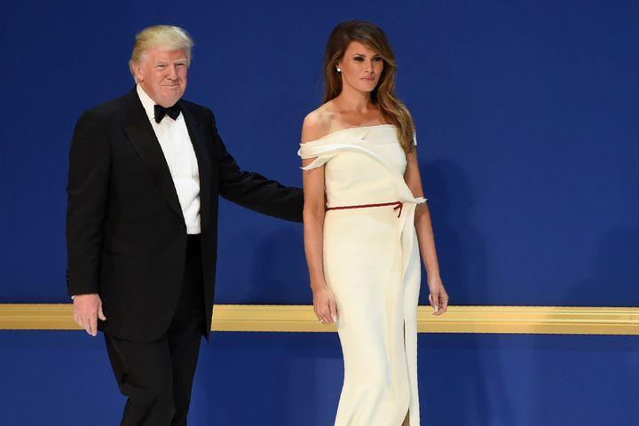 Melania Trump in agown by Carolina Herrera's former creative director Hervé Pierre.