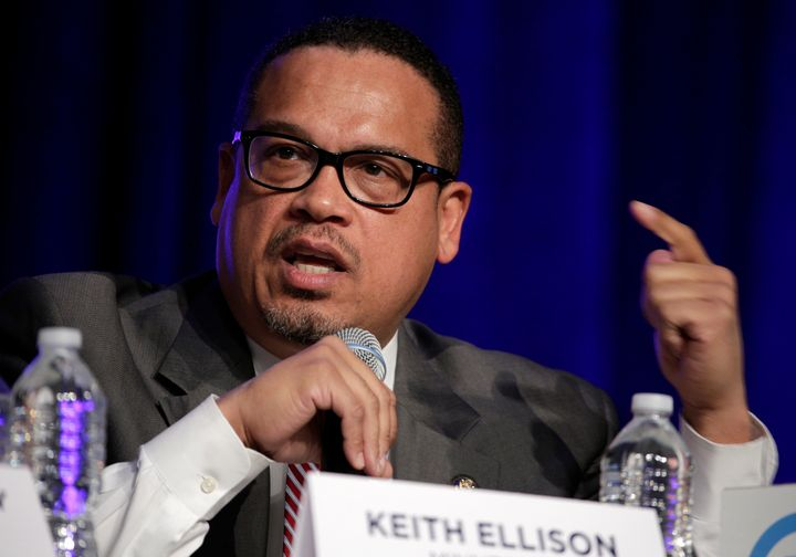 Rep. Keith Ellison (D-Minn.), a candidate to chair the Democratic National Committee, speaks during a DNC forum in Baltimore,