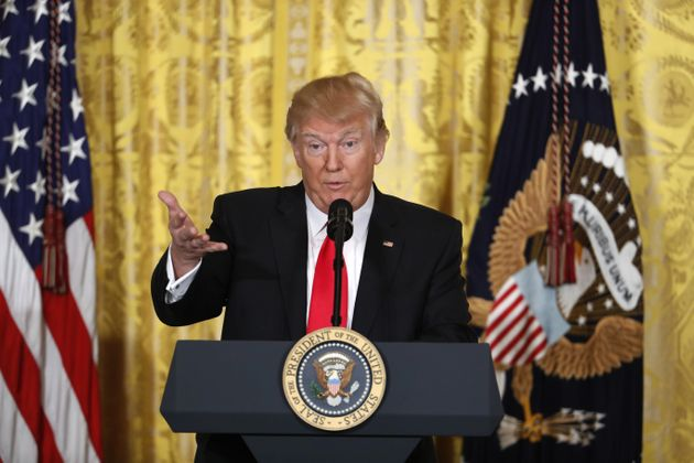 President Donald Trump speaks during a news