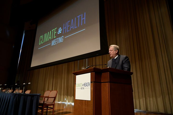 Former Vice President Al Gore addresses attendees of the Climate & Health Meeting at The Carter Center in Atlanta, Georgia.