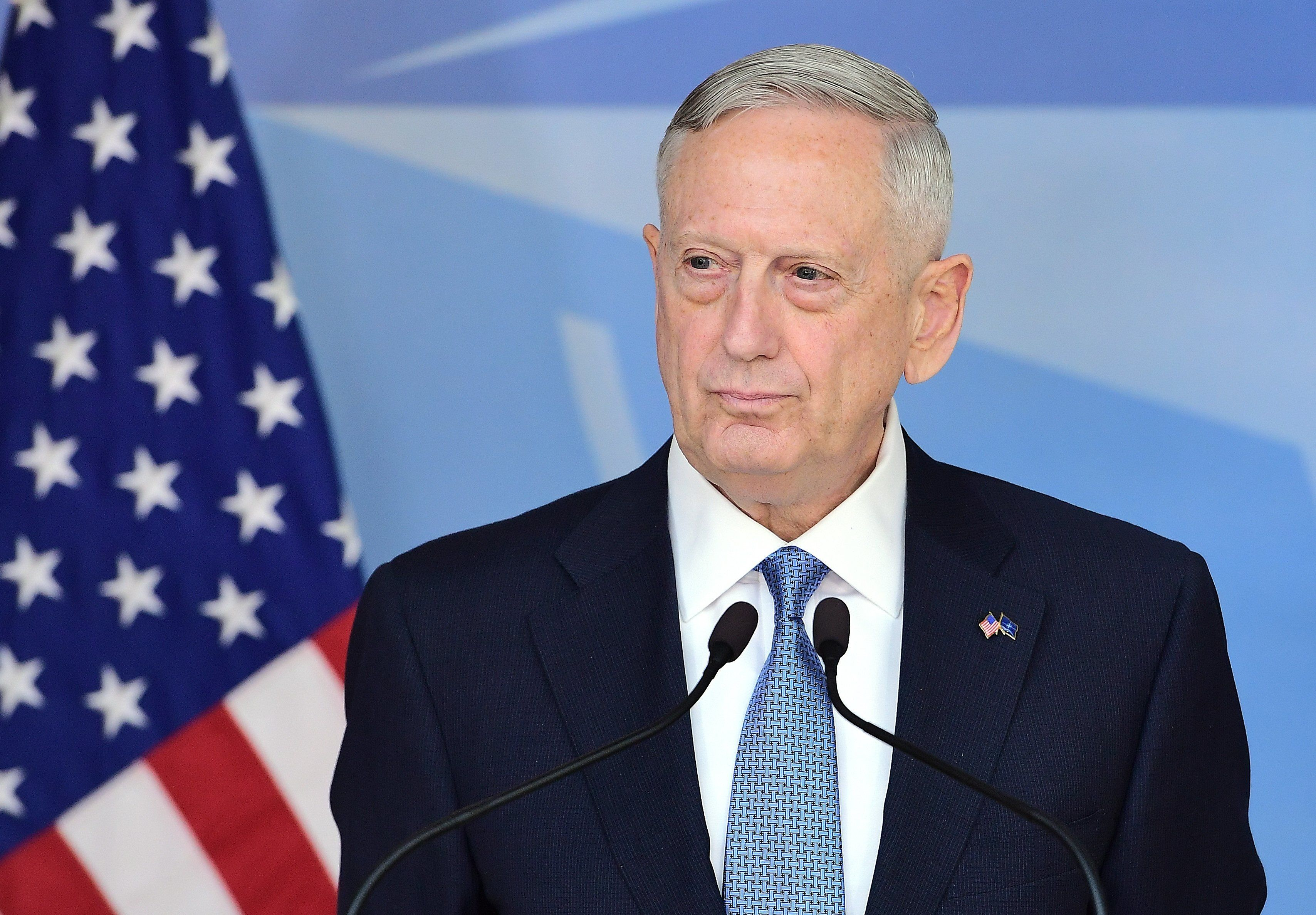 US Defence Minister James Mattis addresses the press during a NATO defence ministers' meetings at the NATO headquarters in Brussels on February 15, 2017. / AFP / EMMANUEL DUNAND        (Photo credit should read EMMANUEL DUNAND/AFP/Getty Images)