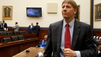 "Consumer Financial Protection Bureau Director Richard Cordray arrives to testify before House Financial Services Oversight and Investigations Subcommittee hearing on ""Allegations of Discrimination and Retaliation and the CFPB Management Culture"" on Capitol Hill in Washington, July 30, 2014. REUTERS/Yuri Gripas (UNITED STATES - Tags: POLITICS BUSINESS)"