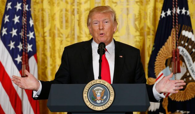 U.S. President Donald Trump holds a news conference at the White House in Washington, U.S., February...