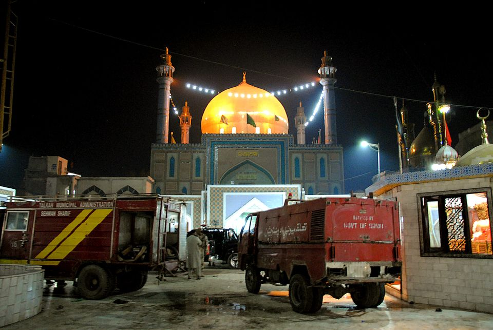 Pakistani soldiers cordon off the shrine of 13th century Muslim Sufi Saint Lal Shahbaz Qalandar, after a bomb blew up in the