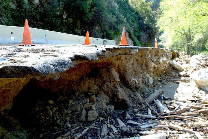 In 2010, severe storms and floods damaged California roads like this one in Pasadena