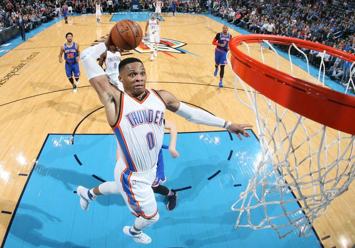 Westbrook recorded his 27th triple-double this season during a win against the Knicks. It took him a mere 29 minutes to