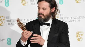LONDON, ENGLAND - FEBRUARY 12:  Casey Affleck with his Best Actor award for 'Manchester by the Sea' in the winners room at the 70th EE British Academy Film Awards (BAFTA) at the Royal Albert Hall on February 12, 2017 in London, England.  (Photo by Karwai Tang/WireImage)