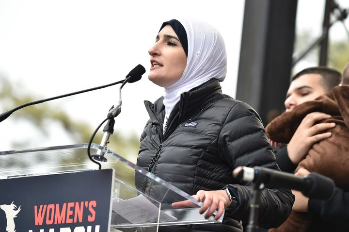 Linda Sarsour speaks onstage during the Women's March on Washington on January 21, 2017 in Washington, DC.