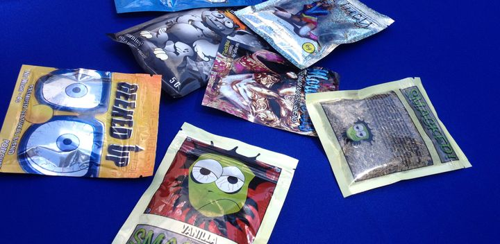 Packets of synthetic marijuana are put on display at a news conference held by New York state Senator Jeff Klein, August 12,